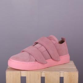 Замшевые сникерсы Classic Pink (двойная липучка)