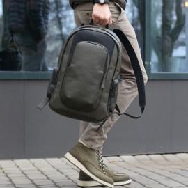 Мужской рюкзак из оливковой кожи Mike 15'