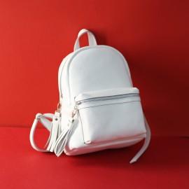 Рюкзак женский из белой кожи Narcissus White