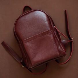 Рюкзак женский кожаный бордовый Carbon Wine