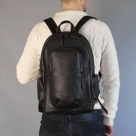 Мужской рюкзак Mike 15' из черной кожи