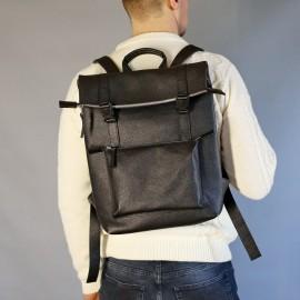 Рюкзак мужской из черной кожи Desert Black