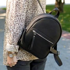 Рюкзак Sport Black с кожаным рантом и прорезным карманом