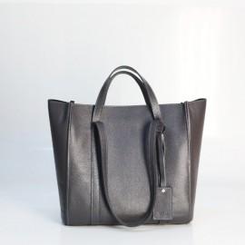 Женская сумка из темно-серой кожи Mark Maxi dark grey на молнии