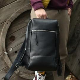 Мужской рюкзак из черной гладкой кожи Konstantin