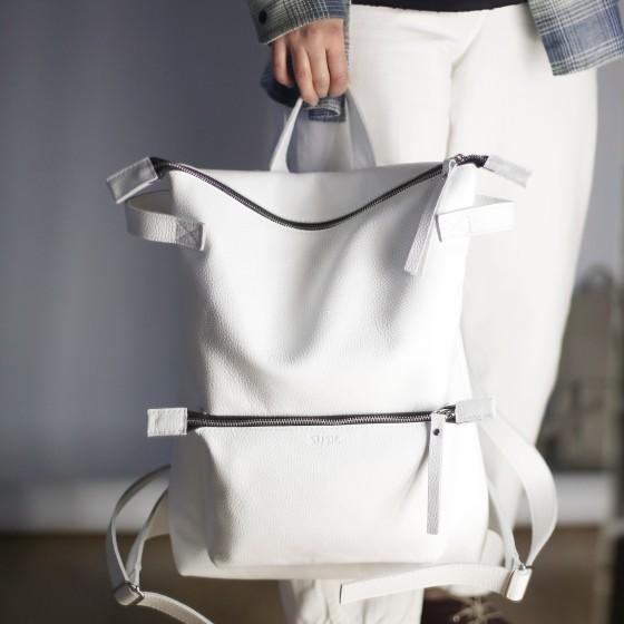 Voyager White белый кожаный городской рюкзак