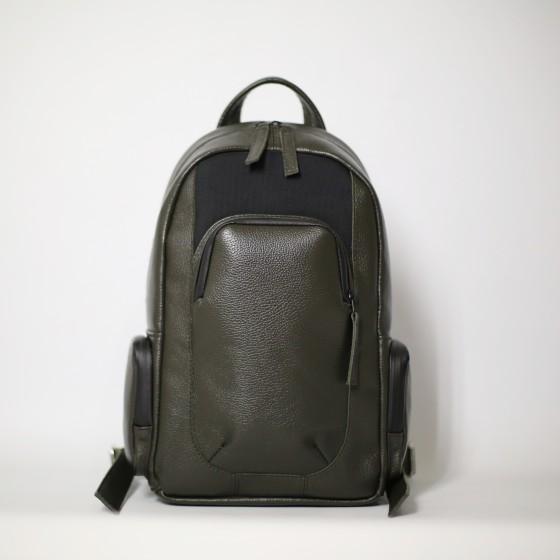 Мужской рюкзак Mikenew 13' из оливковой кожи
