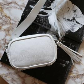 Клатч женский из белой кожи Clutch white с рантом